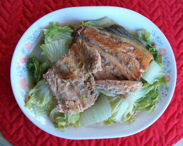 健康家常菜 005魚骨架燜包心白菜