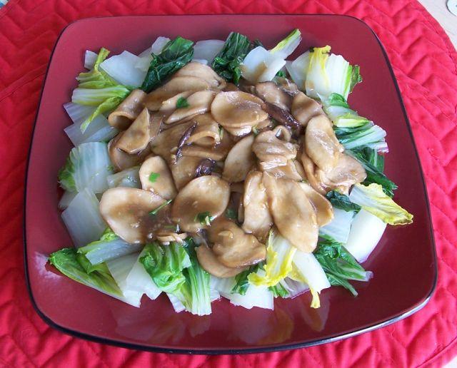 家常素食 34杏鮑菇素燴綠葉大白菜